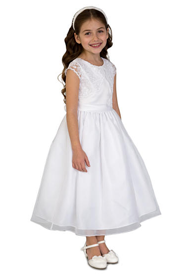 Us Angels Satin, Lace, And Organza Cap Sleeve Lace Communion Dress With Mock Bolero And Full Skirt- Girls 7-16