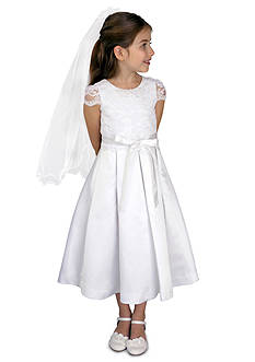 Us Angels Corded Lace And Satin Cap Sleeve Communion Dress With Lace Bodice And Box Pleat Skirt- Girls 7-16