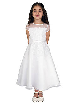 Us Angels® Organza Short Sleeve A-Line Dress With Embroidered Fit Bodice And Embroidered Applique Full Skirt- Girls 7-16