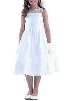 Us Angels Sleeveless Illusion Neck & Pleated Cumberband Organza Dress Girls 7-16