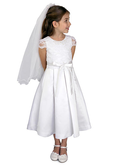 Us Angels Corded Lace And Satin Cap Sleeve Communion Dress With Lace Bodice And Box Pleat Skirt - Girls Plus