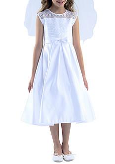 Us Angels Sleeveless Illusion Neck & Box Pleat Skirt Organza Dress Girls 7-16 Plus