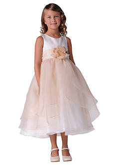 Us Angels Satin And Tulle Layer Organza Tank Dress- Girls 4-6x