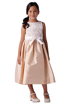Us Angels® Flower Girl Lace Overlay Satin Dress- Girls 4-6x