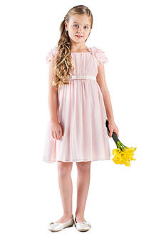 Us Angels Flower Girl Cap Petal Sleeve Empire Dress With Satin Bow- Girls 4-6x