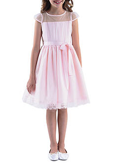 Us Angels Cap Sleeve Illusion with Full Skirt & Ribbon Belt Dress Girls 4-6X