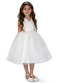 Us Angels® Flower Girl Satin And Point D'Esprit Ballerina Length Dress With Sleeveless Pleated Bodice And Full Skirt- Girls 7-16