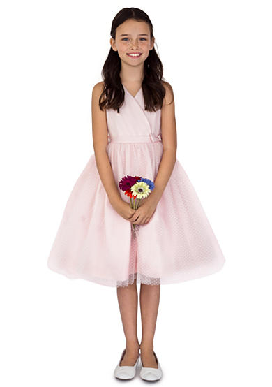 Us Angels Flower Girl Satin And Point D'Esprit Ballerina Length Dress With Sleeveless Pleated Bodice And Full Skirt- Girls 7-16