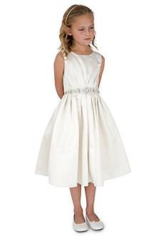 Us Angels Flower Girl Ballerina Length Sleeveless Satin Dress With Pleated Bead Waist- Girls 7-16