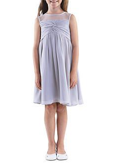 Us Angels Sleeveless Illusion Neckline Chiffon Empire Dress Girls 7-16