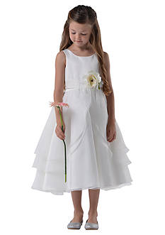 Us Angels® Flower Girl Satin And Tulle Layer Organza Tank Dress- Girls 7-16