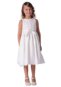 Us Angels® Flower Girl Lace Overlay Satin Dress- Girls 7-16