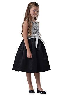 Us Angels® Flower Girl Lace Overlay Satin Dress- Girls 7-16