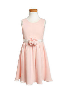 Us Angels® Flower Girl Crinkle Chiffon Tank Dress With Grosgrain Ribbon Belt And Flower- Girls 7-16