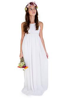 Us Angels® Flower Girl Crinkle Chiffon Sleeveless Ringer Empire Floor Length Dress With Beaded Waist- Girls 7-16