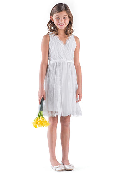 Us Angels Flower Girl Sleeveless Lace Wrap Front Dress With Pleat Insert- Girls 7-16