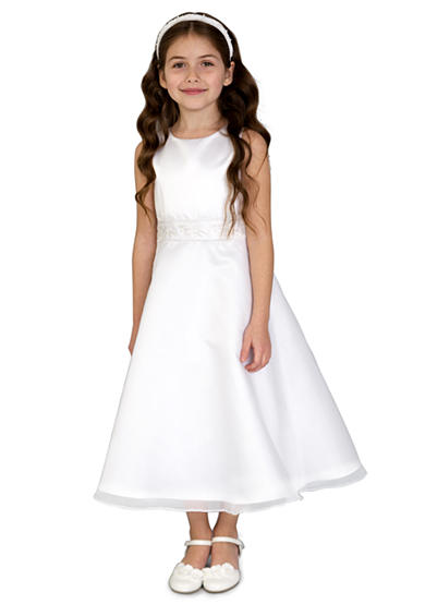 lavender by Us Angels Satin And Organza Two-Piece Sleeveless Princess Bodice A-Line Communion Dress With Organza Bolero- Girls 7-16