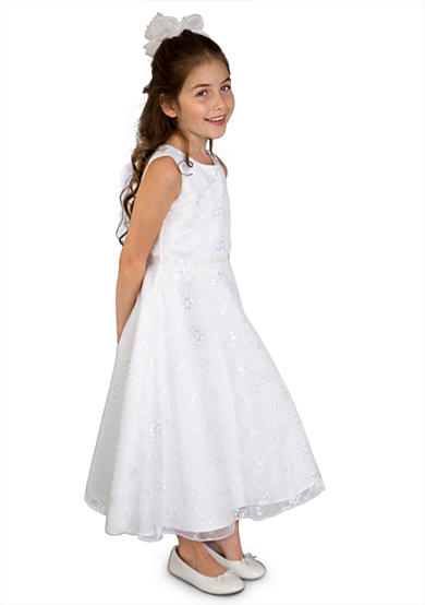 lavender by Us Angels Embroidered Netting Sleeveless A-Line Communion Dress- Girls 7-16
