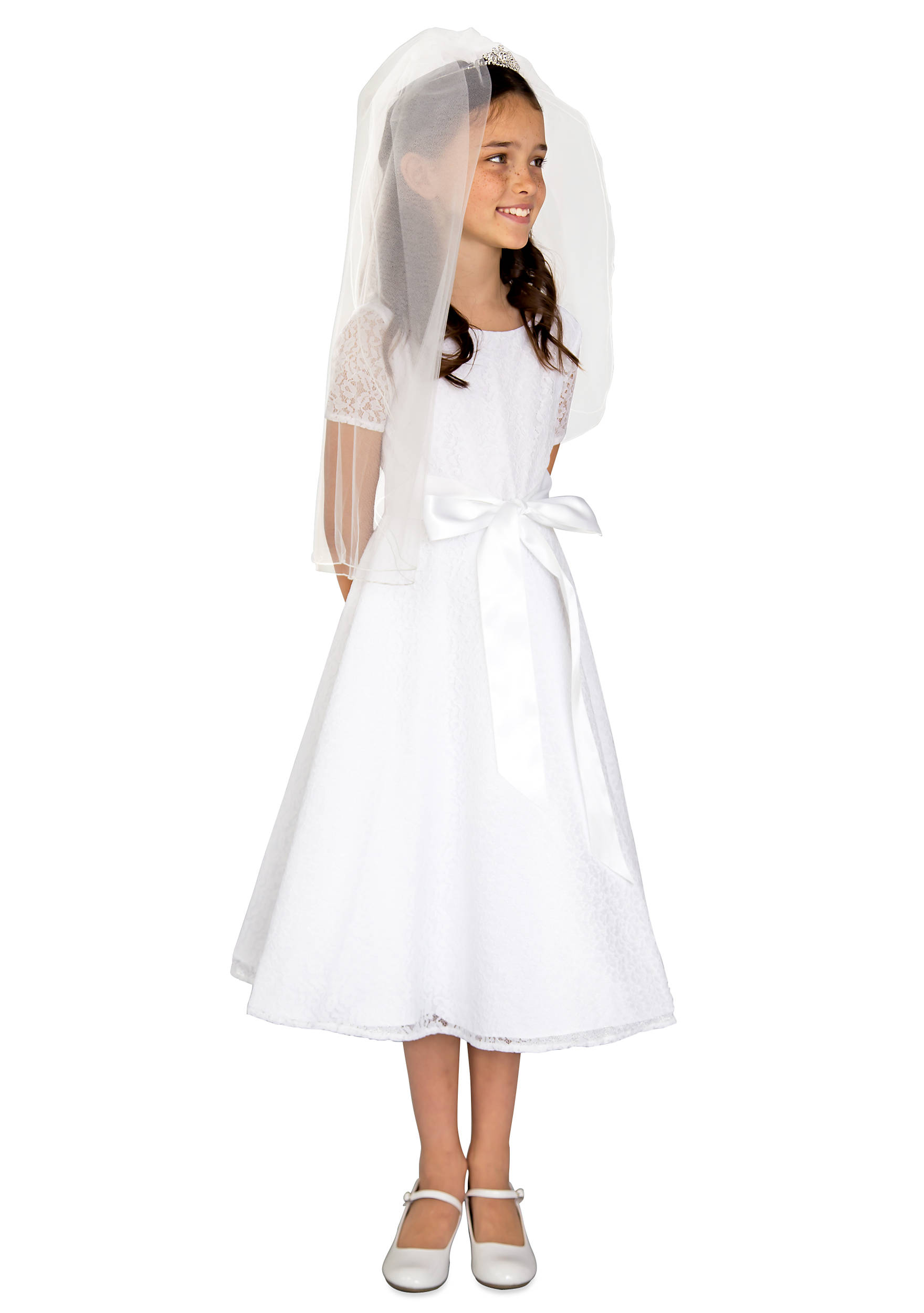 Us Angels Lace Short Sleeve Communion Dress With Satin Ribbon And
