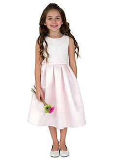 lavender by Us Angels Flower Girl Satin And Lace Sleeveless Lace Popover Bodice With Full Skirt- Girls 7-16