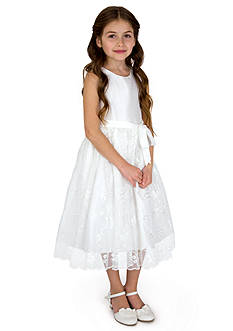 lavender by Us Angels Flower Girl Shantung And Embroidered Netting Sleeveless Princess Bodice With Full Skirt- Girls 7-16