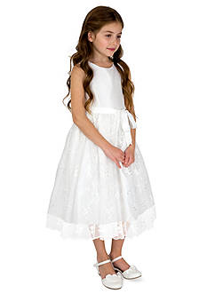 lavender by Us Angels Flower Girl Shantung And Embroidered Netting Sleeveless Princess Bodice With Full Skirt- Girls 4-6x