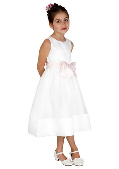 lavender by Us Angels Flower Girl Satin And Organza Sleeveless Bodice With Sash And Hem Full Skirt- Girls 7-16