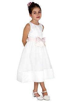 lavender by Us Angels Flower Girl Satin And Organza Sleeveless Bodice With Sash And Hem Full Skirt- Girls 4-6x
