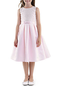 Us Angels Sleeveless Embroidered Organza Bodice & Satin Box Pleat Skirt Flower Girl Dress Girls 7-16
