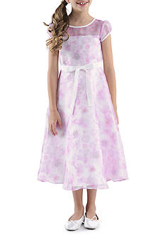 Us Angels Cap Sleeve Illusion Neck Printed Organza Dress Girls 4-6X