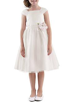 Us Angels Shirred Sleeve Princess Satin Bodice with Tulle Overlay Skirt Flower Girl Dress Girls 4-6X