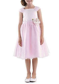 Us Angels Shirred Sleeve Princess Satin Bodice with Tulle Overlay Skirt Flower Girl Dress Girls 4-6X