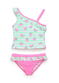 J Khaki™ 2-Piece Watermelon Chevron Tankini Girls 4-6x