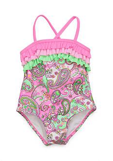 J. Khaki One-Piece Pretty Paisley Swimsuit Girls 4-6x