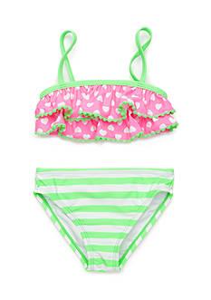 J. Khaki Hearts Galore 2-Piece Swimsuit Girls 4-6x