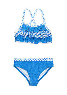 J. Khaki® Chambray 2-Piece Swimsuit Girls 4-6x