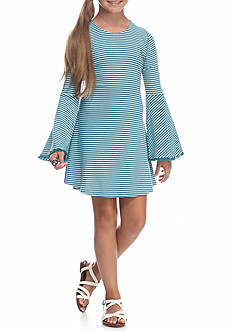 love, Fire Bell Sleeve Ribbed T-Shirt Dress Girls 7-16