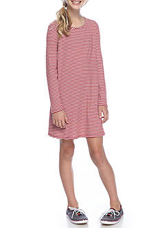 love, Fire Stripe Ribbed Tee Shirt Dress Girls 7-16