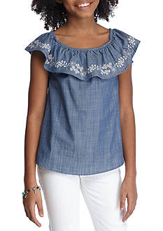 love, Fire Embroidered Off-the-Shoulder Top Girls 7-16