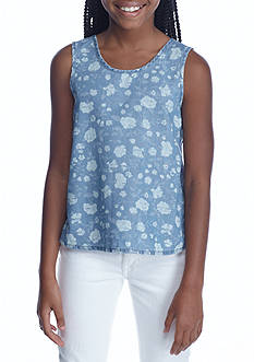 love, Fire Chambray Floral Tank Girls 7-16