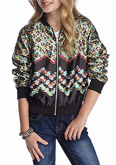 love, Fire Reversible Floral Bomber Jackets Girls 7-16