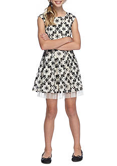 love, Fire Flocked and Lace Skater Dress Girls 7-16