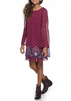 love, Fire Lace Trim Shift Dress Girls 7-16
