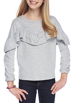 love, Fire Horizontal Ruffle Sweatshirt Girls 7-16