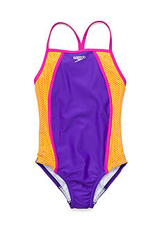 speedo Mesh Thin Strap One Piece Swimsuit Girls 7-16