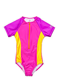 speedo Short Sleeve Zip One Piece Swimsuit Girls 7-16