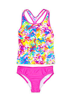 speedo 2-Piece Tie Dye Splash Keyhole Tankini Girl 7-16