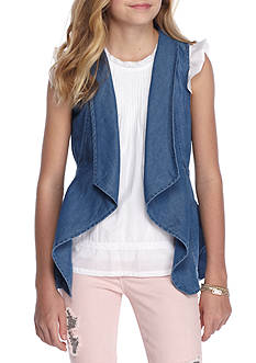 Red Camel Chambray Utility Vest Girls 7-16
