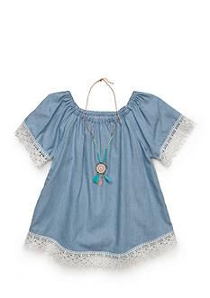 Red Camel Chambray Crochet Top Girls 7-16