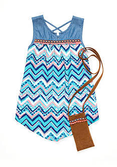 Red Camel Chambray Chevron Tank with Purse Girls 7-16